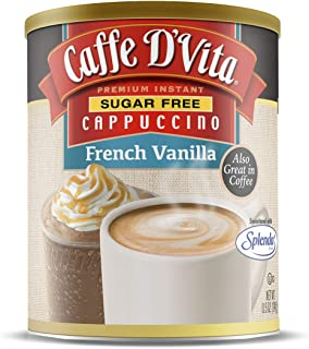 Caffe D'Vita Sugar Free French Vanilla Instant Cappuccino Mix Powder - Pack of 6 - 8.5 oz. cans