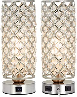 Crystal Table Lamp Set of 2 with USB Charging Port,Decorative Nightstand Room Lamps,Bedside Night Light Lamp, Fashionable Small Table Lamp for Bedroom, Living Room,Dining Room