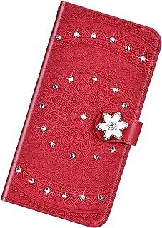 Funda Compatible con Samsung Galaxy A3 2017,Cuero Bling Diamante Flor Mandala Carcasa Case Estampado PU Flip Billetera Ran...