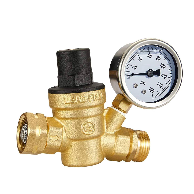 Esright Brass Water Many popular brands Pressure Regulator In stock Gauge 3 with Lead-Free 4