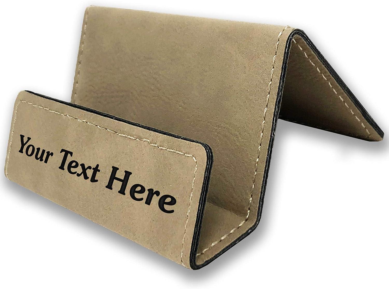 Personalized Leatherette Desktop Business Card Holder Gift Card Holder  Laser Engraved Buckskin