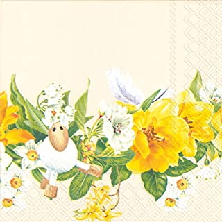 Celebrate the Home Spring 3-Ply Paper Cocktail Napkins, Daffodil Wreath, 20-Count