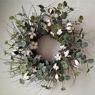 """Idyllic Round Wreath for Front Door 20"""" Cotton Garland Wreath with Round Leaf Spring & Summer Vintage Wreath Farmhouse Dec..."""