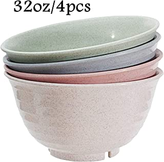 4 Pack Wheat Straw Plastic Bowls-unbreakable-reusable- Microwave- Dishwasher Safe Cereal Bowl/Dinnerware Set/Bpa Free,Eco Friendly/perfect For Soup Rice Noodle Ramen Salad and Pasta, (Large 32 oz)