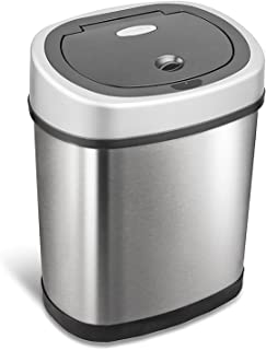 NINESTARS DZT-12-9 Automatic Touchless Infrared Motion Sensor Trash Can, 3 Gal. 12 L., Stainless Steel (Oval, Silver/Black Lid)