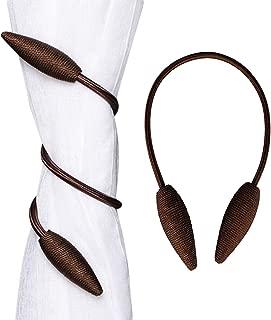 Hidecor Curtain Tiebacks Drapery Holdbacks Decorative Rope Tiebacks Drape Holder Clips for Blackout Sheer Curtain, 2 Pack Coffee