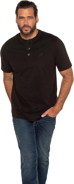 JP 1880 Men's Big & Tall 2 Pack Slim Fit Cotton Henley Tees Black XXX-Large 708420 10