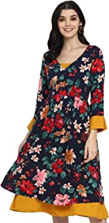 DEEBACO Women's Fit and flare Midi Dress (DBDR00000319A_S_Blue_Small)
