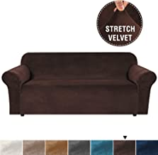 H.VERSAILTEX Real Super Velvet Plush Sofa Cover/Slipcover with Extra 2 Straps (1 Piece Style) Rich Velvet High Stretch Slip Resistant Stylish Furniture Cover Couch Covers for 3 Seat (Large, Brown)