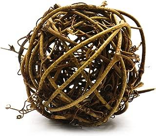 Buorsa 6 Pcs Bowl Vase Filler Twig Orbs Balls Natural Decoration Balls Brown Wooden Ball Rustic Rattan Cane