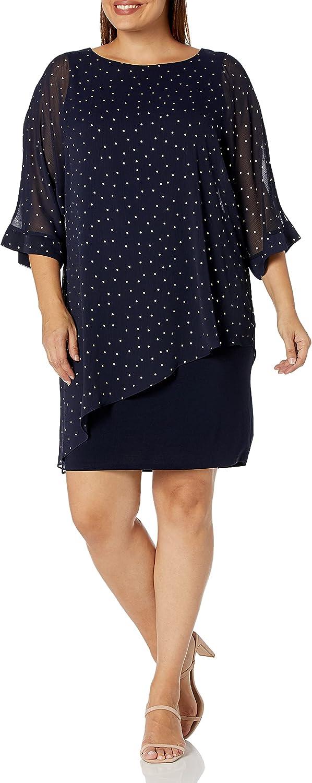 S.L. Fashions Women's Plus Size Short Popover Cape Dress