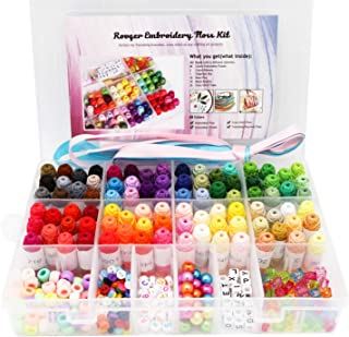 Embroidery Floss 88 Colors Cross Stitch Thread for Friendship Bracelets String Embroidery Threads with Organizer Storage Box Bracelet String Kit 43 Pcs Cross Stitch Tools with Beads and Ribbons