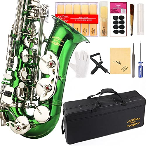 Glory Green/Silver keys E Flat Alto Saxophone with 11reeds,8 Pads cushions,case,carekit-More Colors with Silver or Go...