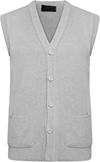 GA COMMUNICATIONS Mens Classic Sleeveless Button UP Cardigan Knitwear Pockets Granddad Sweater Tops[Light Grey,3XL]