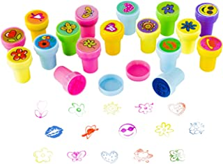 Super Z Outlet Assorted Mini Colorful Rubber Hearts, Smiley Faces, Flower Design Stamps for Children, Party Favor Gifts, Arts & Crafts Projects (50 Pack)