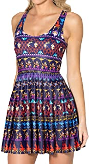 QZUnique Women's Geometric Printed Stretchy Sleeveless Pleated Fit and Flare Skater Dress