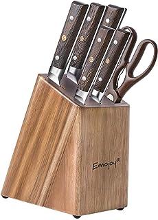 Emo joy Couteau de Cuisines, Set Couteaux Acier Inoxydable Allemand 7 Pieces, Bloc de Couteaux avec Couteau de Chef, Bloc ...