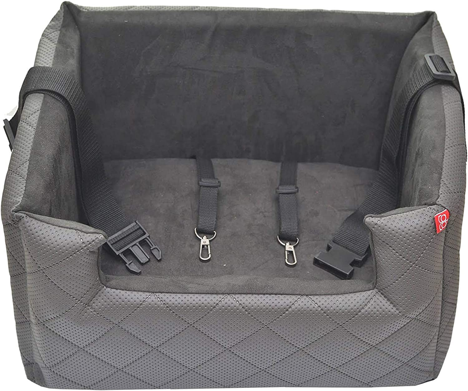 Amibelle Comfort Dog Seat LUX M Grey L 47 x W 40 x H 25 cm Car Seat Rear Seat Front Seat Luxury for Dogs Without Chemistry