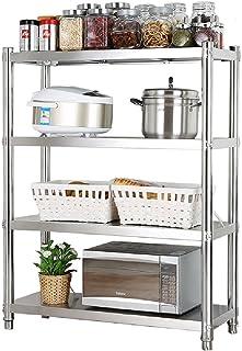 Grand four à micro-ondes support de rangement de cuisine cuisine rack étagère superposable, 4 niveaux étagère en acier ino...