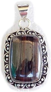 Iron Tiger Eye Pendant, Silver Plated Pendant, Handmade Designer Pendant, Single Bail Pendant BRS-12483