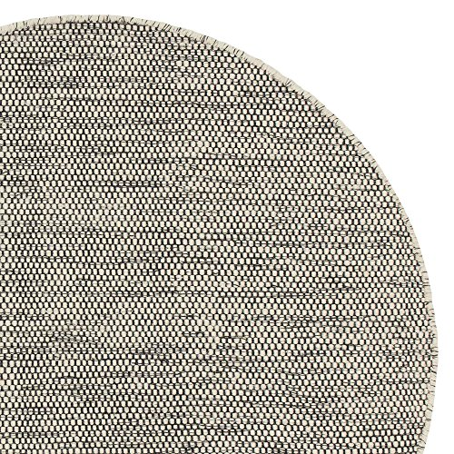 URBANARA runder Teppich 'Kolong' - 100% reine Woll-Baumwoll-Mischung, Eierschale/Schwarz, handgewebt...