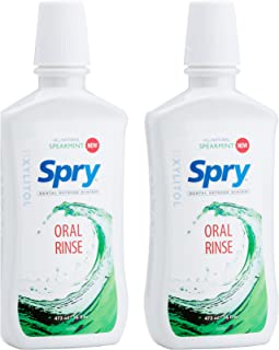 Spry Natural Mouthwash Dental Defense Oral Rinse with Xylitol, All-Natural Spearmint, 16 fl oz (2 Pack)