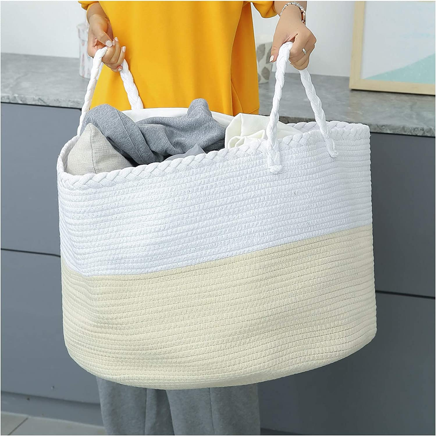catalpa yao Cotton Rope Basket 22x14 Inch XXXL Large Woven Storage with Handles for Blankets, Toys and Nursery Laundry Hamper (White & Beige)
