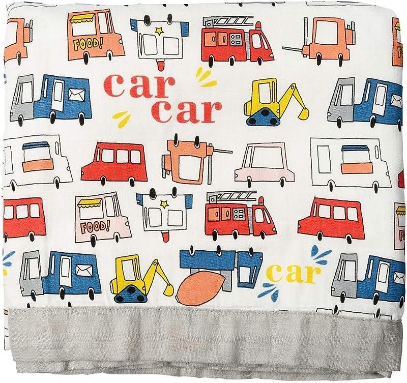 Muslin Toddler Blanket Firetruck Print Bamboo Muslin Quilt Oversized 47 X 47 2 Layers Muslin Stroller Blanket For Baby Boy Firetruck