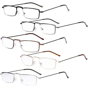 Eyekepper 5-Pack Stainless Steel Frame Half-Eye Style Reading Glasses Readers Silver 4.0