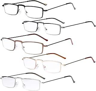 Eyekepper Lot de 5 lunettes de lecture en acier inoxydable avec monture style demi-oeil