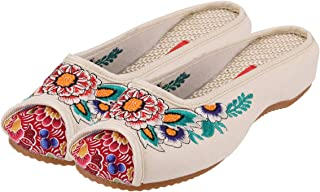 CINAK Embroidered Flower Women Shoes Backless Mules Comfortable Flats Round Toe Loafers