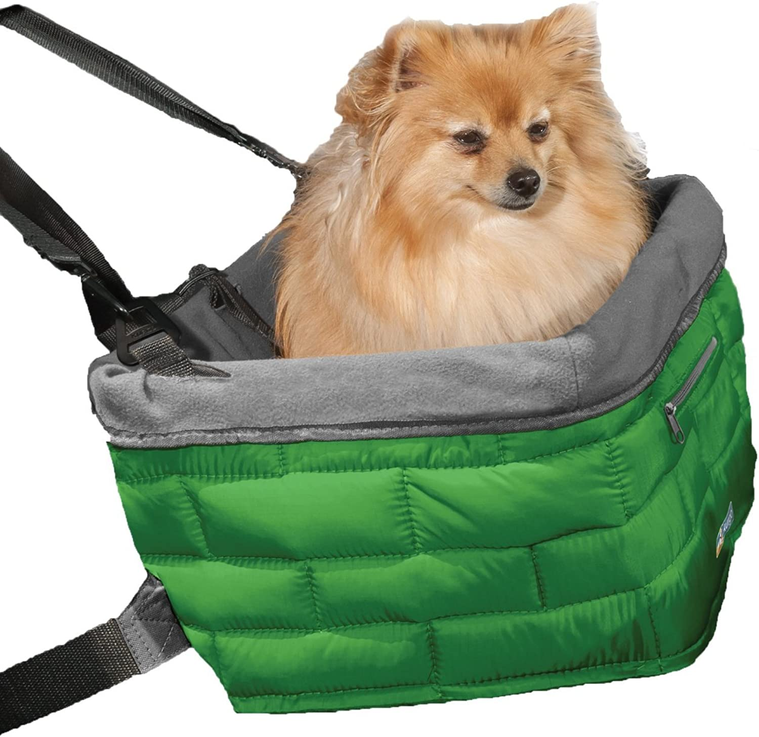 Kurgo Loft Dog Booster Seat for Cars with Seat Belt Tether, Green Grey