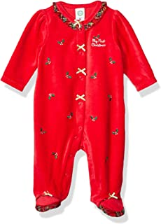Little Me Baby-Girls LCQ08899N Holiday Velour Footies Footie - red