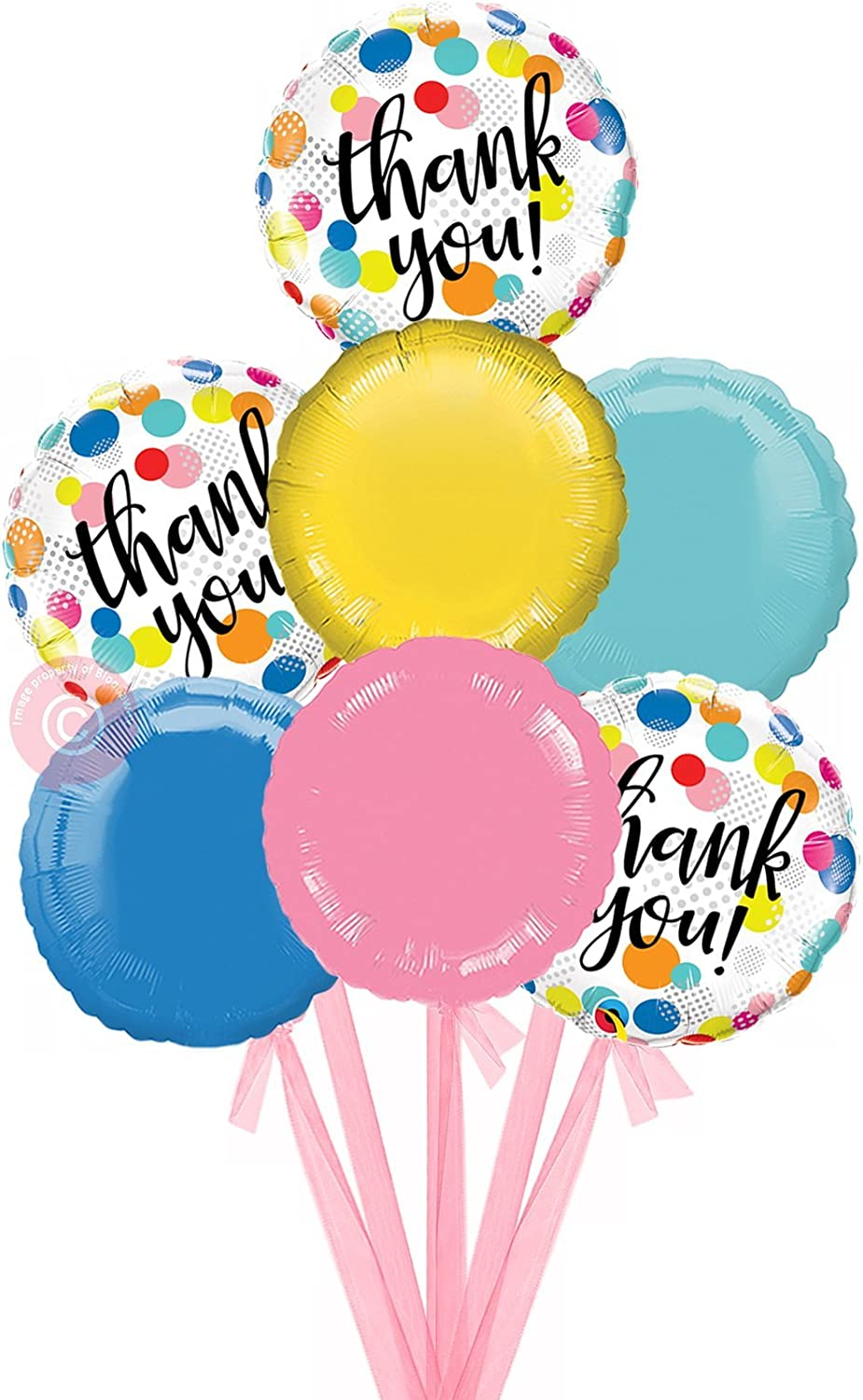 Thank You Dots Upon Dots  Inflated Thank You Helium Balloon Delivered in a Box  Bigger Bouquet  7 Balloons  Bloonaway