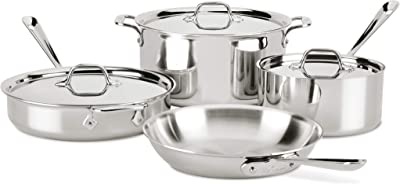 All-Clad 4007AZ D3 Stainless Steel Dishwasher Safe Induction Compatible Cookware Set, Tri-Ply Bonded, 7-Piece, Silver