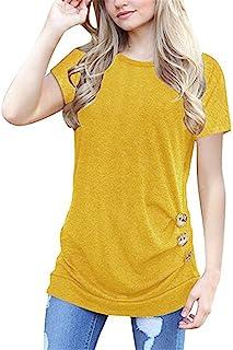 d51e79d5c2346 Simaier Women s Casual Round Neck T-Shirt Loose Splice Short Sleeve Tops  Blouse