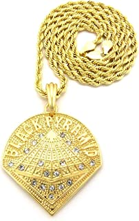 Shiny Jewelers USA Mens Gold Black Pyramid Hip Hop Pendant Rope Box Cuban Link Chain Necklace