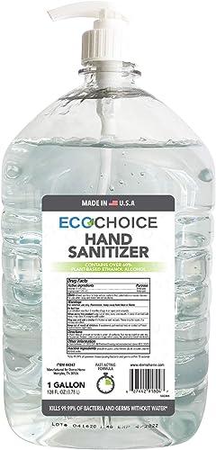Sterno Home ECOCHOICE Unscented Hand Sanitizer Gel, FDA-Registered, 66% Alcohol, 1-Gallon Size Bottle, 128 Fl. Oz, wi...