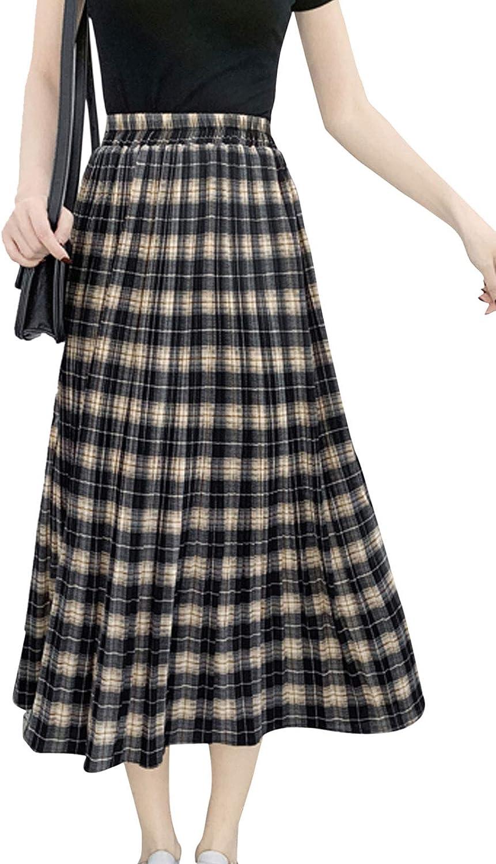 Flygo Women's Casual Summer High Waisted A Line Pleated Long Skirt