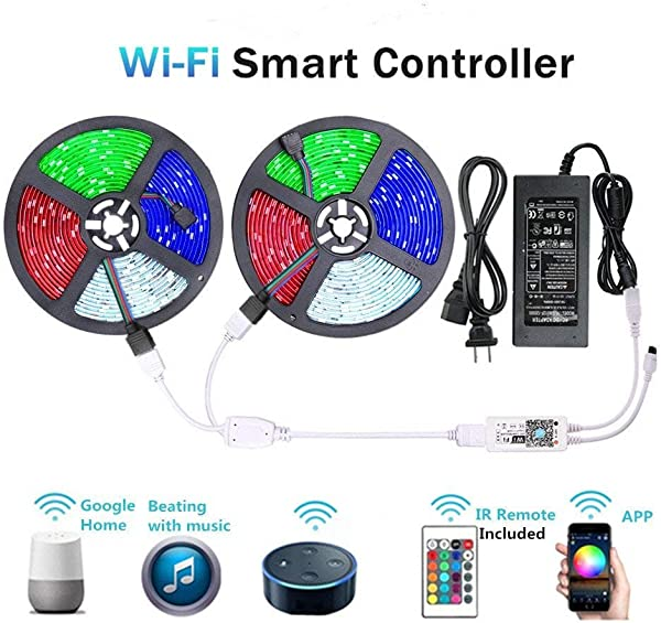 WenTop LED Light Strip WiFi Wireless Smart Phone Controlled Strip Light Kit 65 6ft 5050 RGB 600LEDs Lights With DC24V UL Rope Light Working With Android And IOS System IFTTT Google Assistant