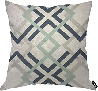 AOYEGO Navy Blue and Aqua Graphic Throw Pillow Cover Rhombus Geometric Diamond Repeat Collage Grid Regular Classic Graphic...