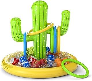 Jasonwell Inflatable Cactus Drink Holder Float Floating Beverage Salad Fruit Serving Bar Inflatable Ring Toss Game Set Poo...