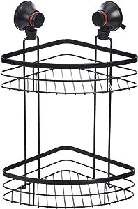 AmazonBasics Suction Shower 2-Tier Corner Shelf