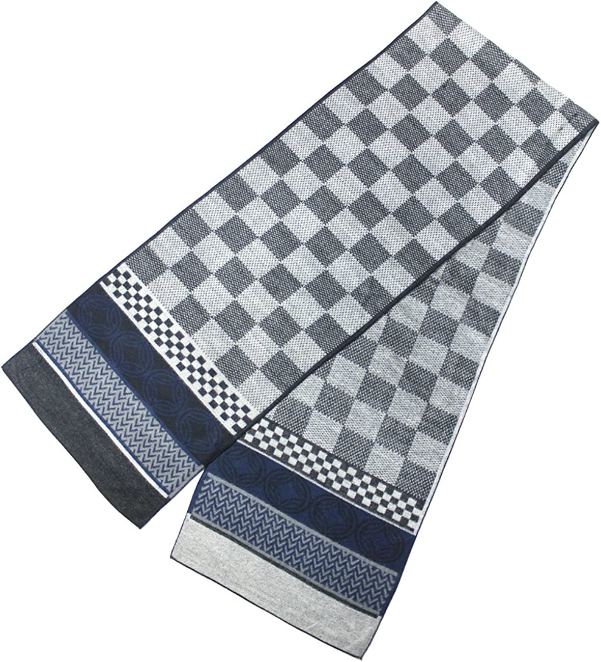 Dahlia Mens Winter Scarf - Rayon, Cashmere Feel Scarf - Large Checkers, Gray