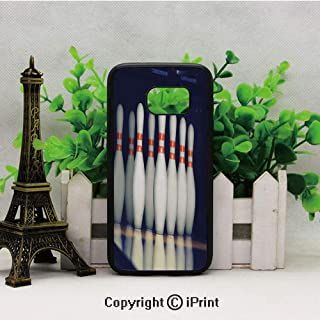 Classical Pins on Alley Competition Pursuit Leisure Time Decorative Samsung Galaxy S7 Case with Artistic Black Soft TPU and PC Protection Anti-Slippery Case for Samsung S7 Dark Blue White Red