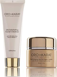 ORO24KARAT Exfoliating Facial Cleanser and Night Cream with 24k Gold, Anti-Aging