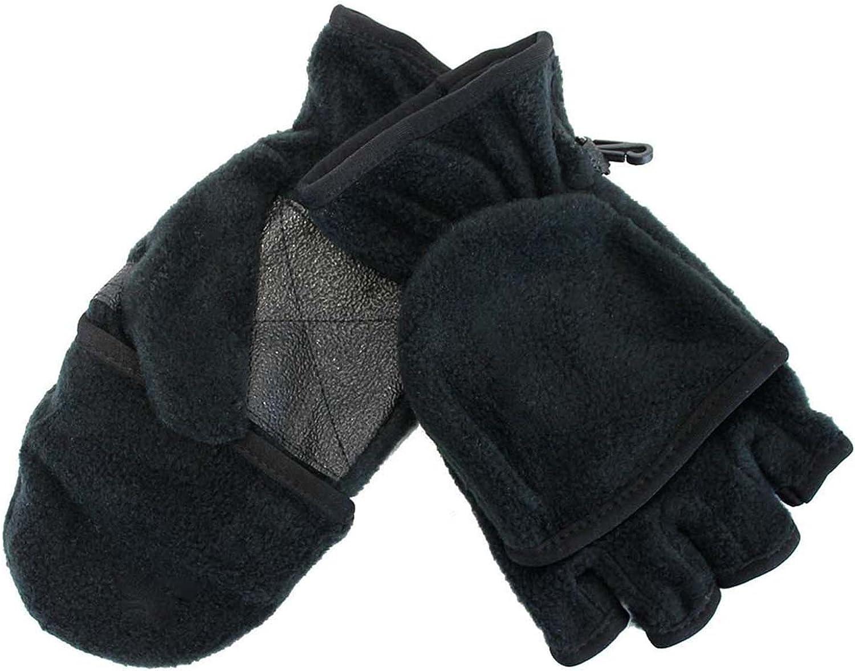 Black Fingerless Gloves With Convertible Fleece Pocket