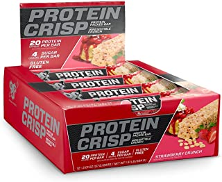 BSN Protein Crisp Bar by Syntha-6, Low Sugar Whey Protein Bar, 20g of Protein, NEW FLAVOR-Strawberry Crunch, 12 Count (Packaging may vary)