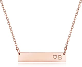 Finrezio Rose Gold Plated Stainless Steel Initial Heart Bar Necklace Alphabet Pendant Necklace for Women Mother, 16