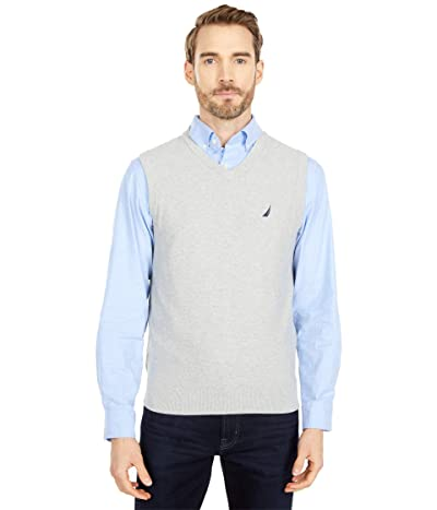 Nautica Navtech V-Neck Sweater Vest (Medium Grey Heather) Men